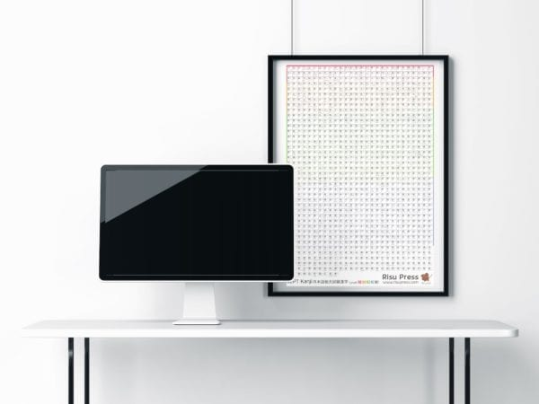 JLPT Kanji Poster mockup hanging with computer on desk