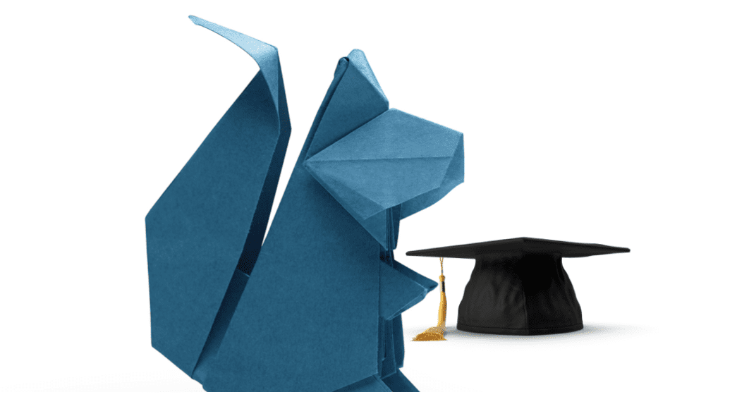 Squirrel origami and mortarboard hat
