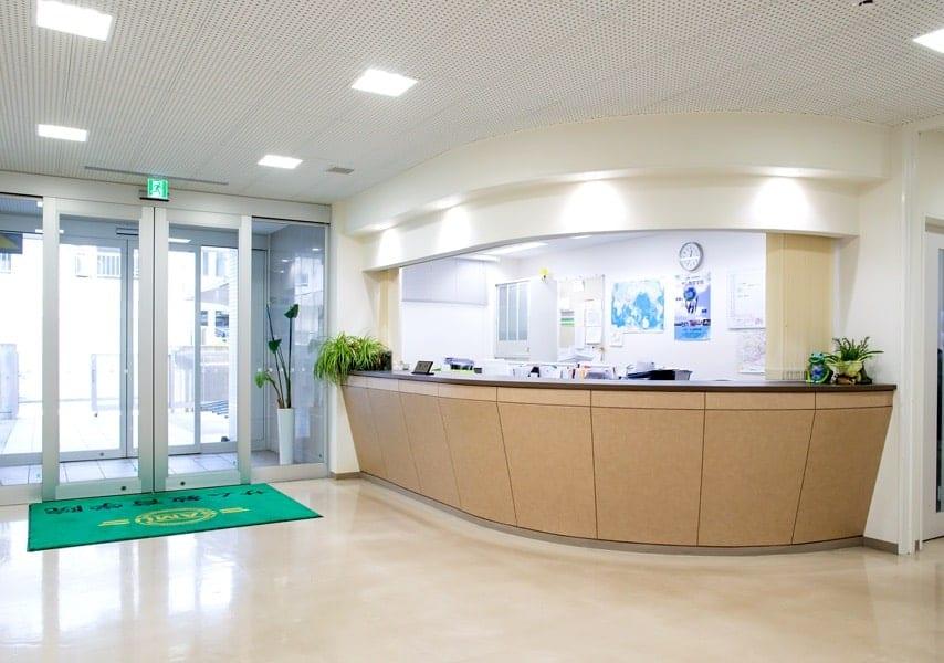 Entrance desk and doors to SAMU Language School in Tokyo
