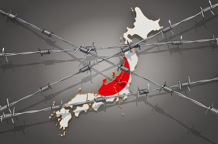 Map of Japan with barbed wire, 3D rendering on grey background